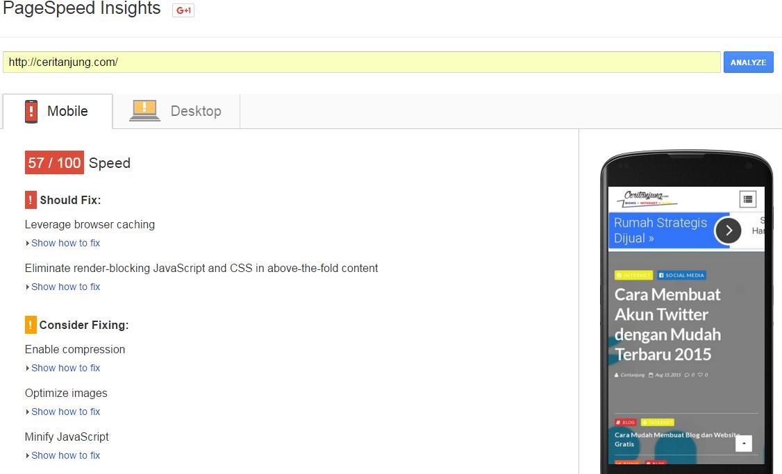 Cara Mengetahui Kecepatan Loading Website Google Page Speed Insights