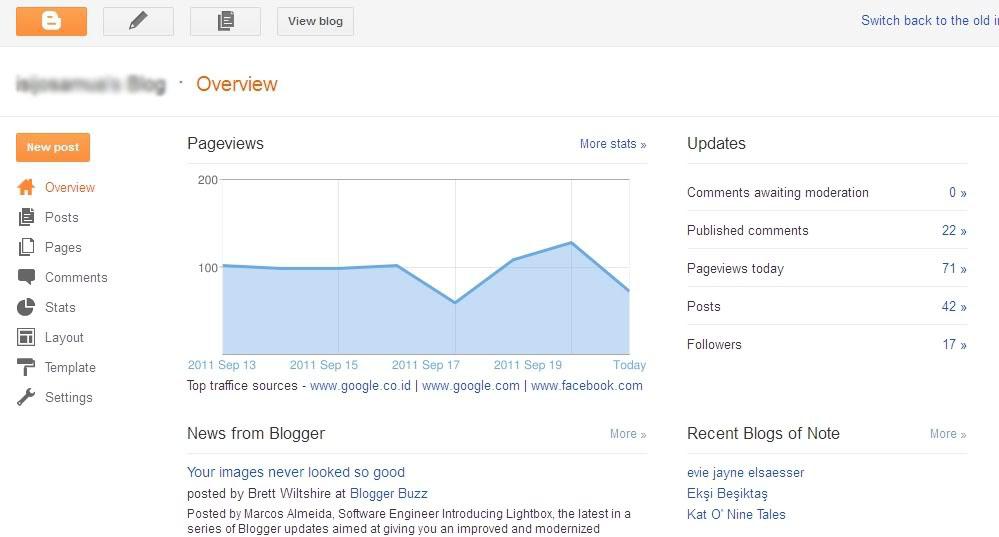 tampilan dashboard blogger kini diperbarui lebih luas