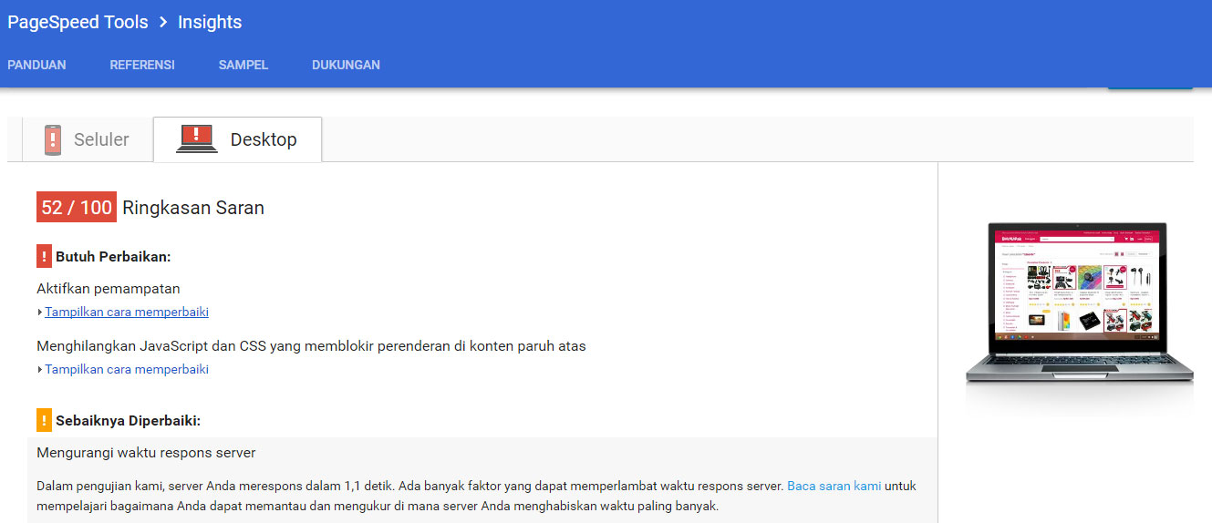 test website bukalapak menggunakan google pagespeed insights versi dekstop
