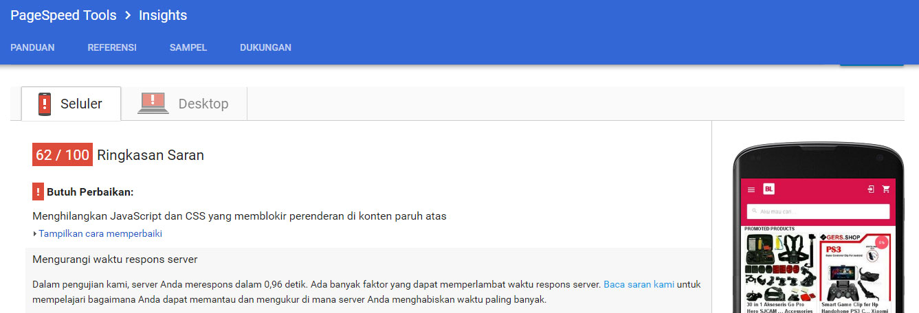 test website bukalapak menggunakan google pagespeed insights versi smartphone