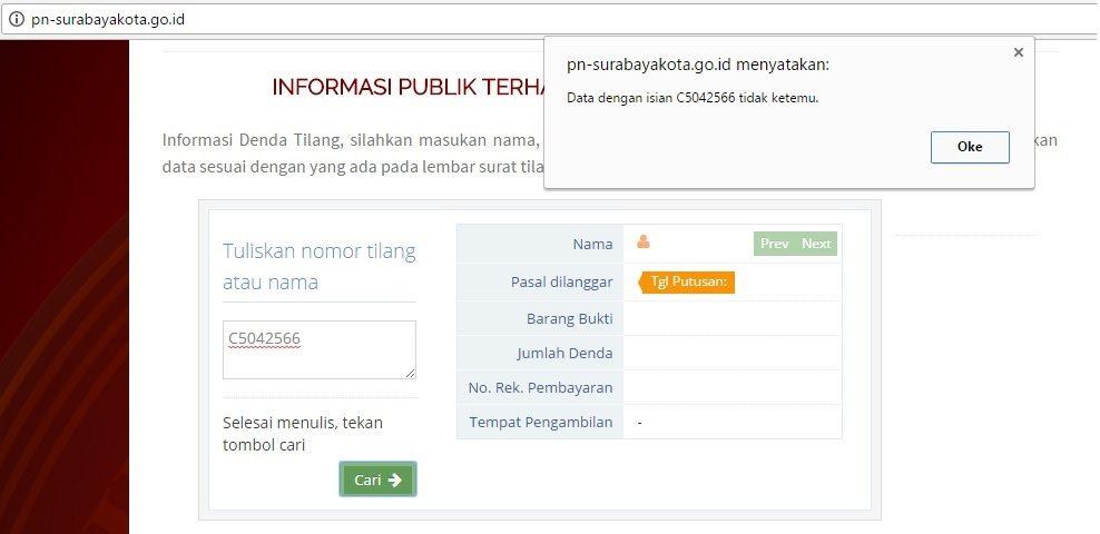 website tilang pengadilan negeri surabaya