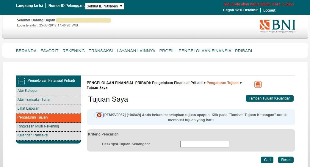 tujuan keuangan BNI