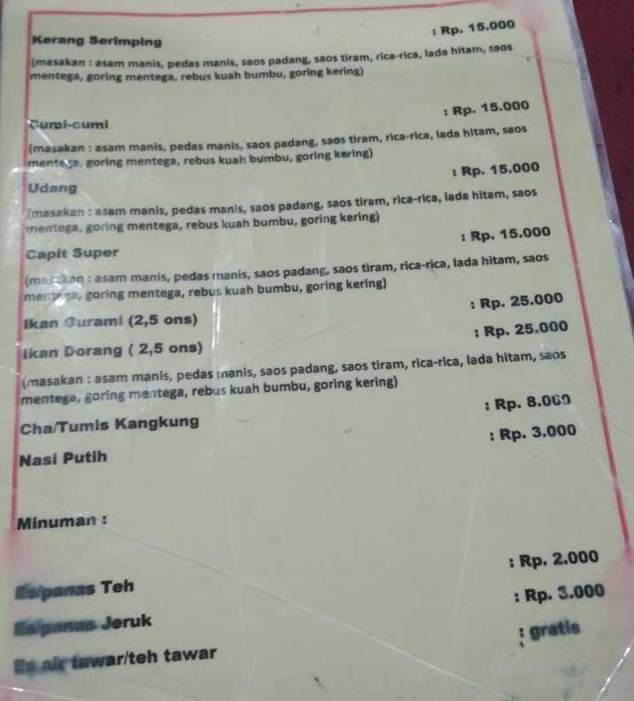 Daftar Harga Seafood Tiga Belas Selera Bos Harga Kos