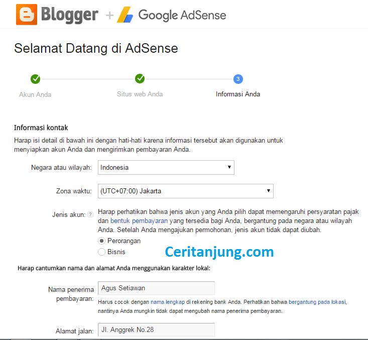 Cara Daftar Google Adsense Melalui Blog 5