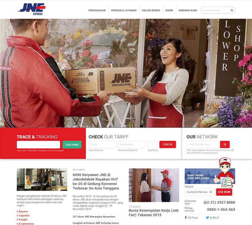 Tampilan Website JNE Baru