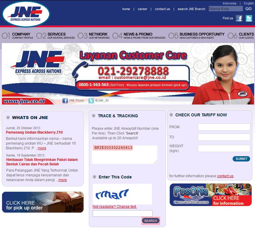 Tampilan Website JNE Lama