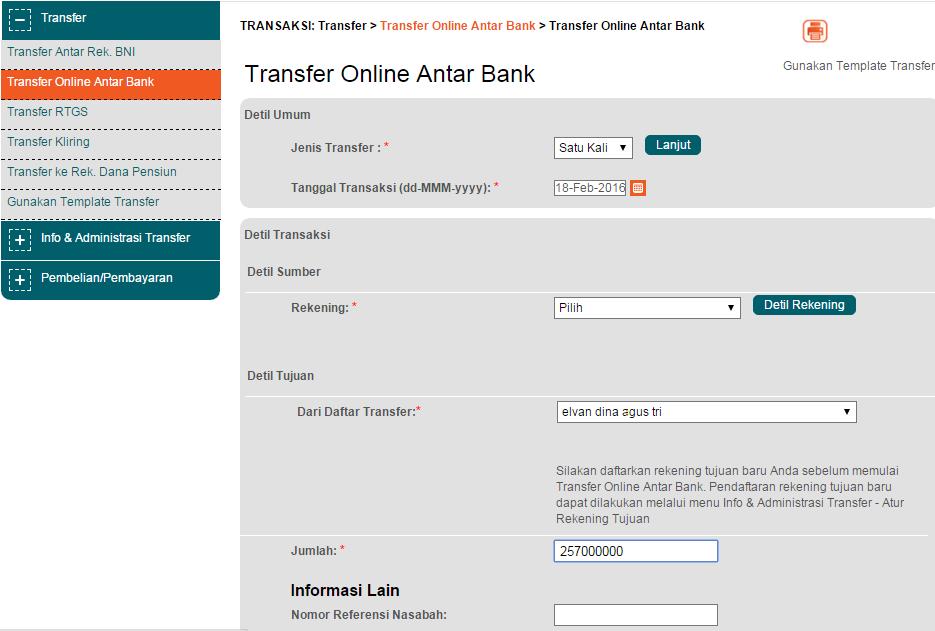 transfer online antar bank