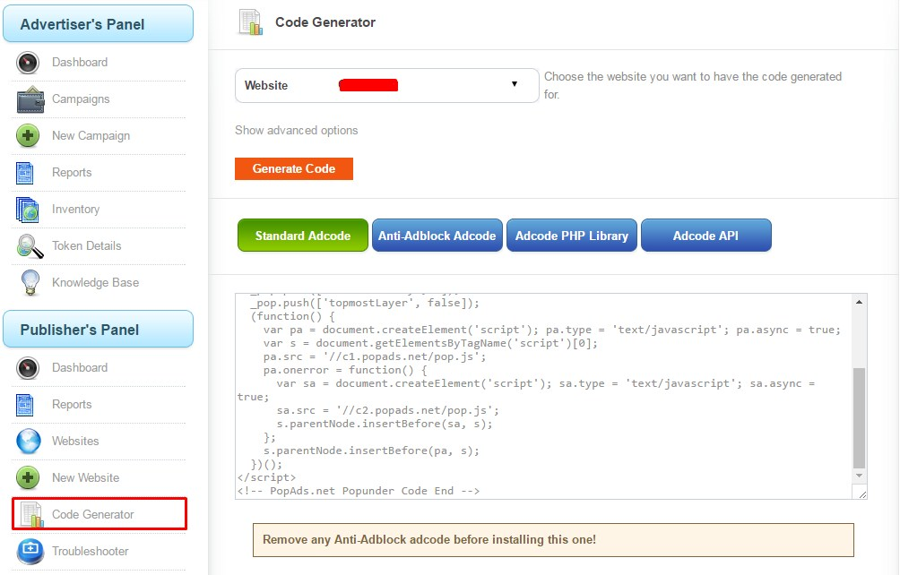 pasang code popads di blog