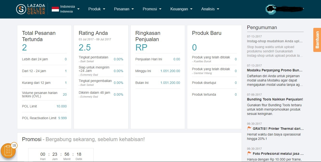 Dashboard Seller Center Lazada