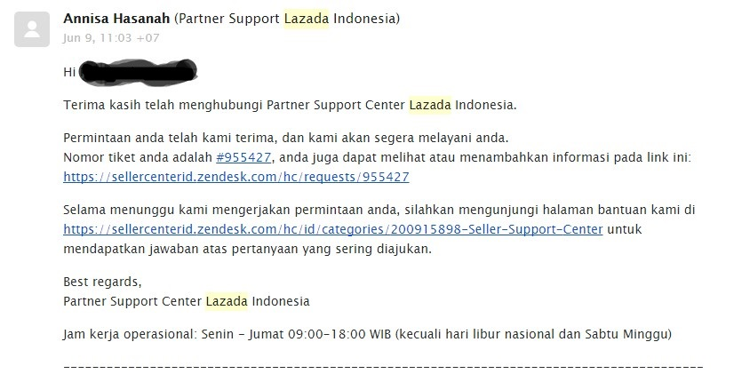 komplain cs lazada melalui email lama balasnya