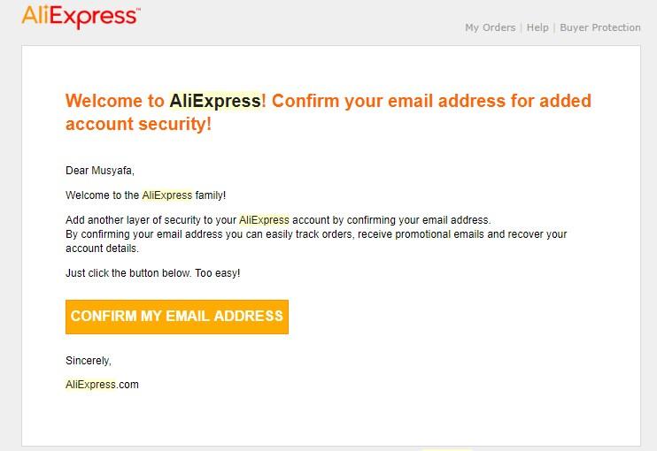 konfirmasi pendaftaran aliexpress