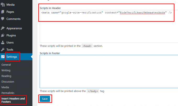 Plugin Insert Header and Footers