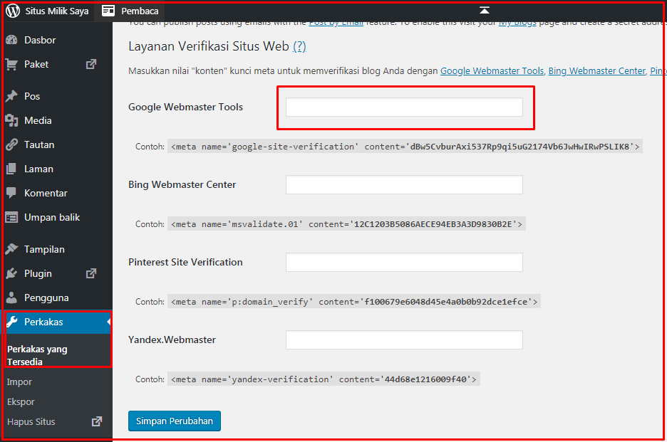 cara mengunggah file verifikasi google ke wordpress