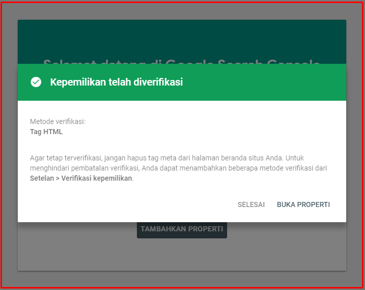 cara verifikasi google console di wordpress