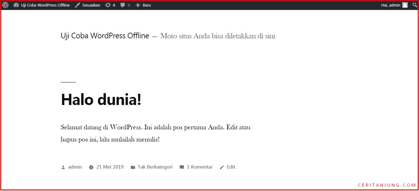 tampilan front end wordpress offline