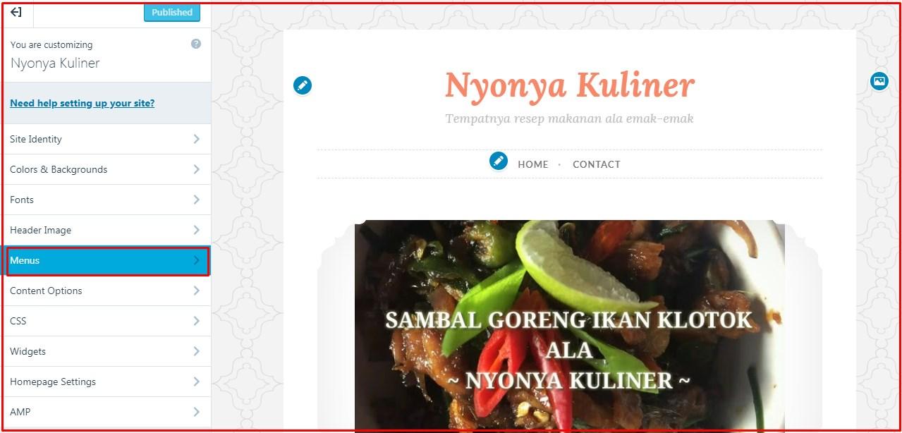 menu customize