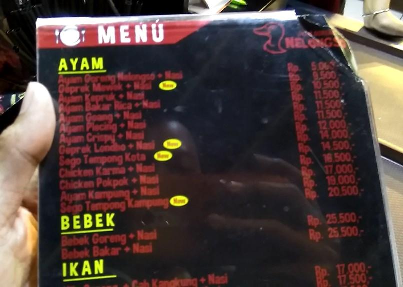 daftar harga dan menu ayam goreng nelongso gresik