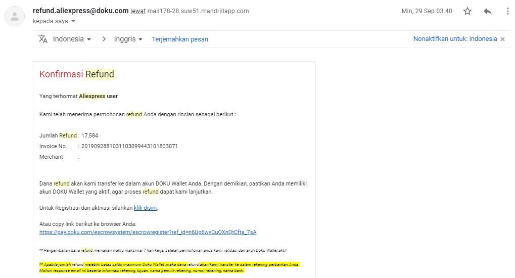 email pengembalian dana aliexpress doku