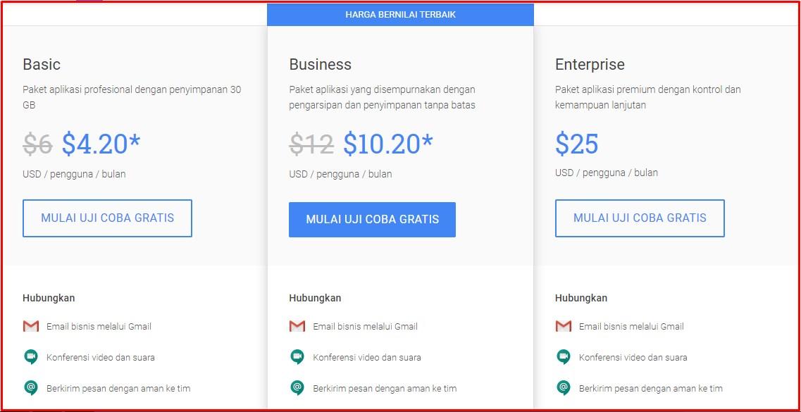 Harga G Suite Google