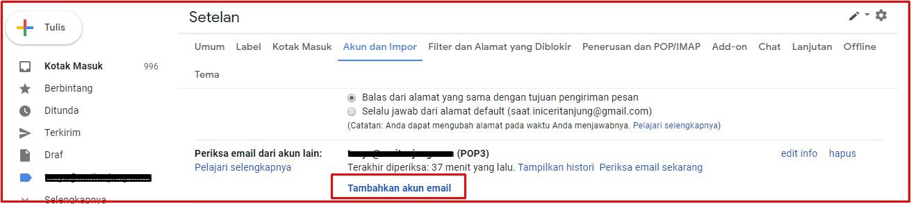 Tambahkan akun email