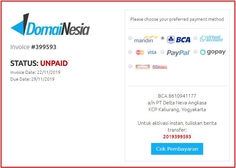 konfirmasi pembayaran domain di domainesia