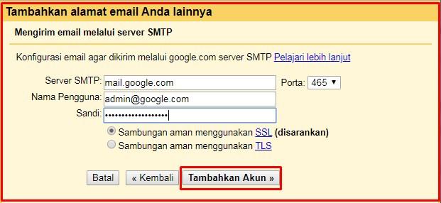 server SMTP gmail